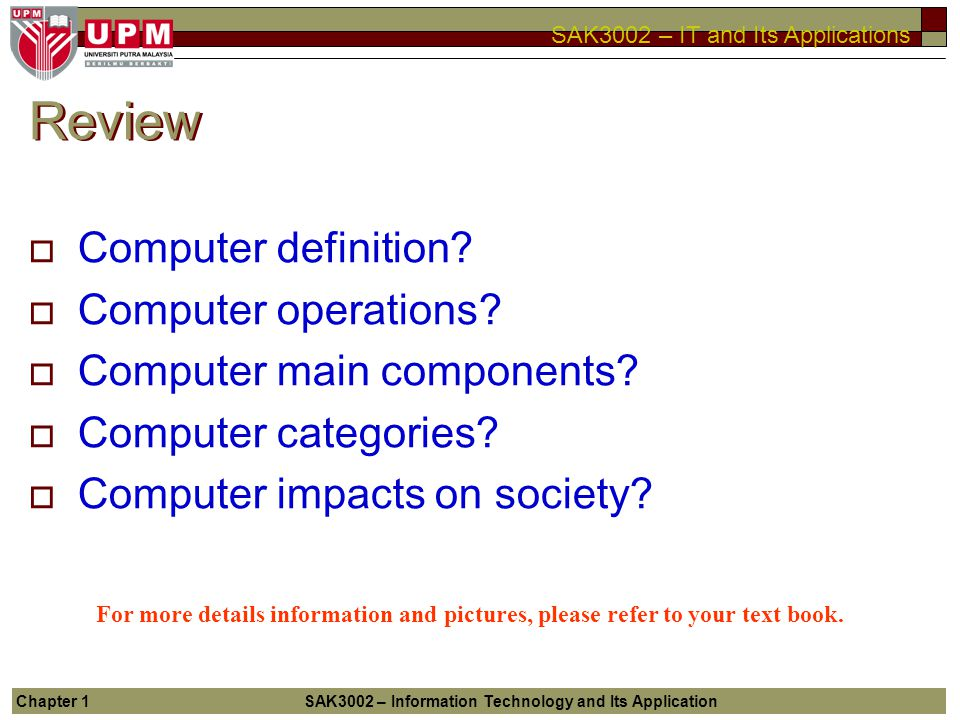 Review Computer definition Computer operations