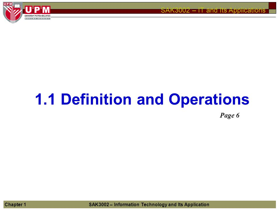 1.1 Definition and Operations