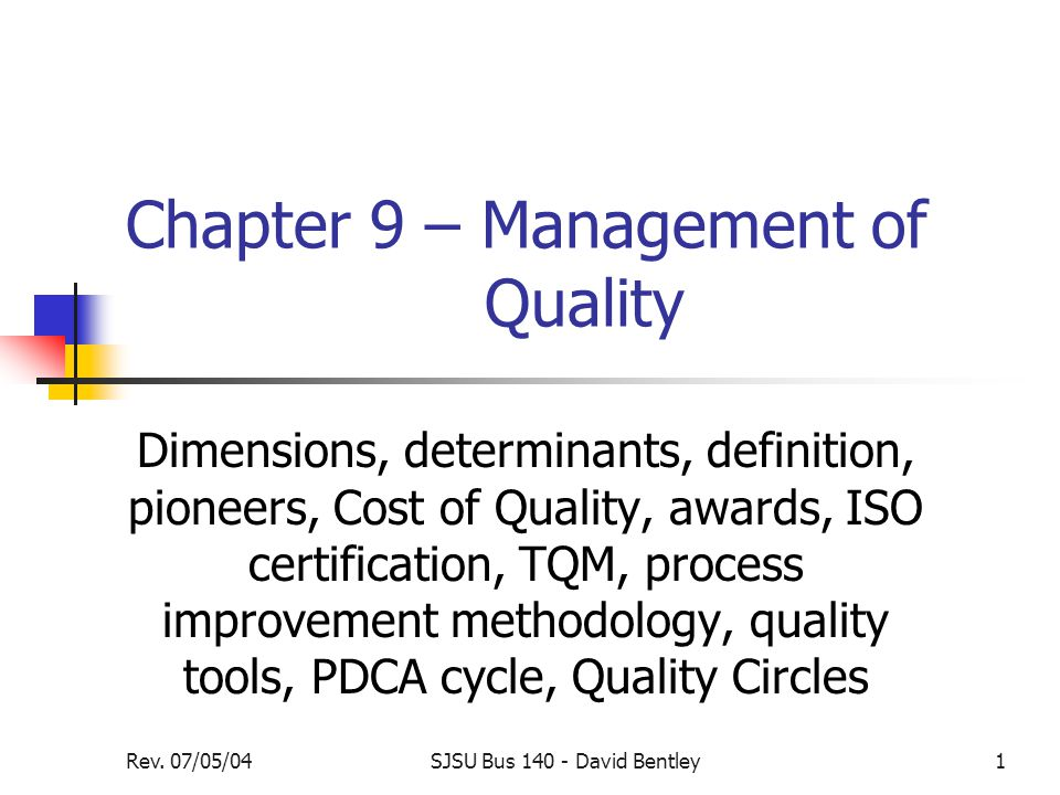 dimensions of quality management