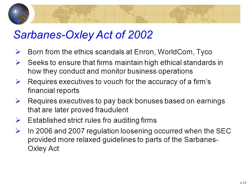 Sarbanes-Oxley Act of 2002 Born from the ethics scandals at Enron, WorldCom, Tyco.