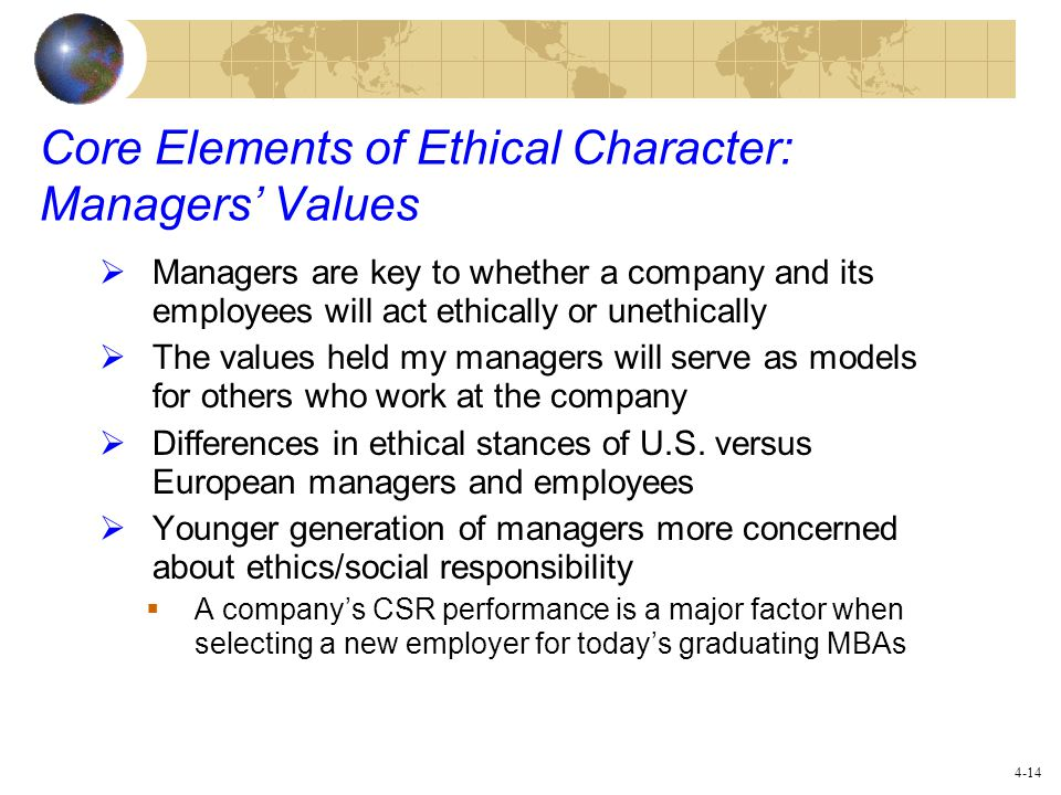 Core Elements of Ethical Character: Managers' Values