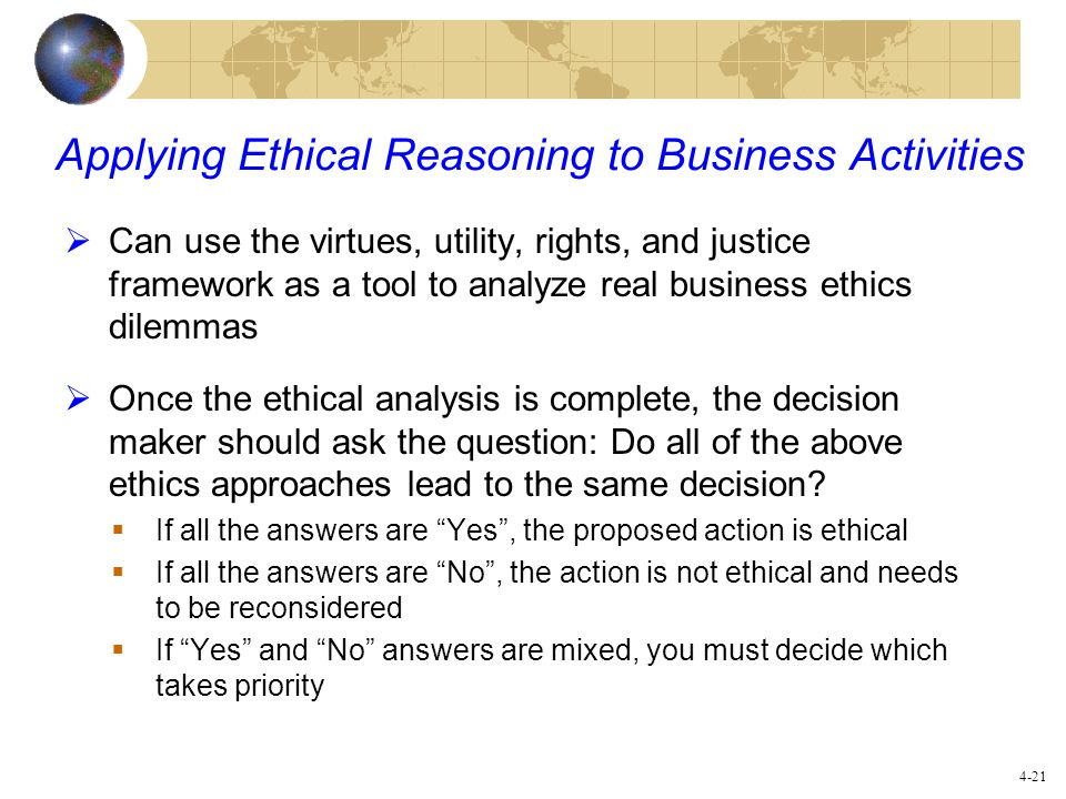 Applying Ethical Reasoning to Business Activities