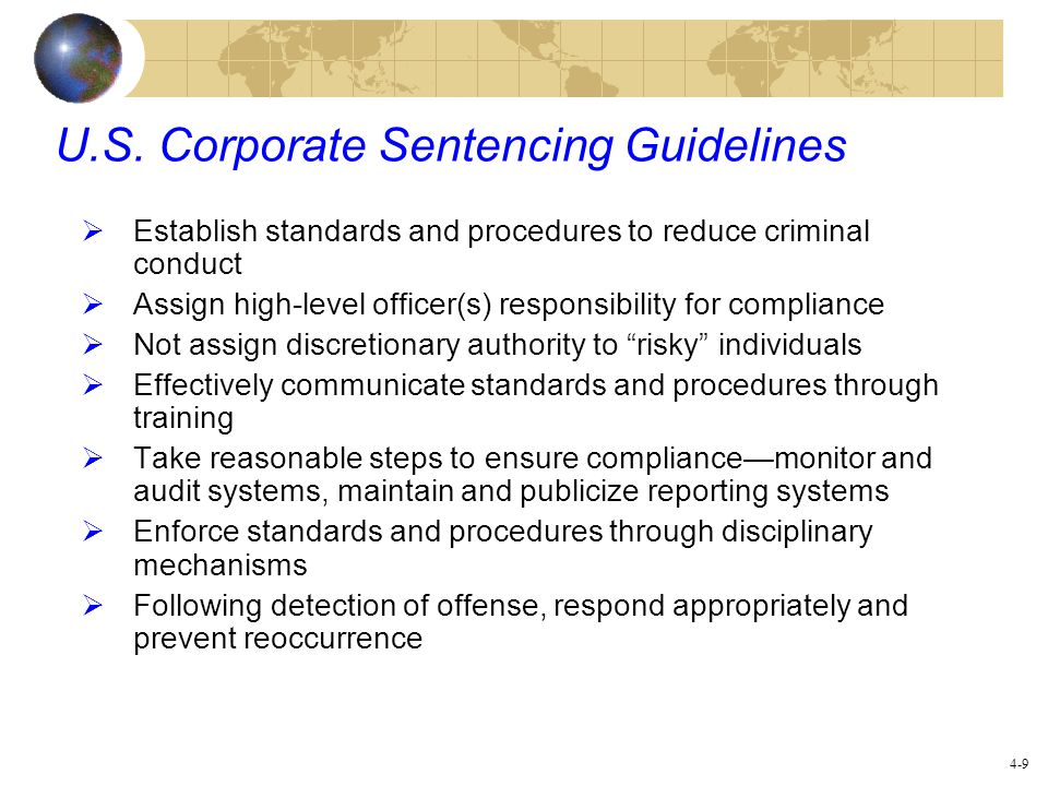 U.S. Corporate Sentencing Guidelines