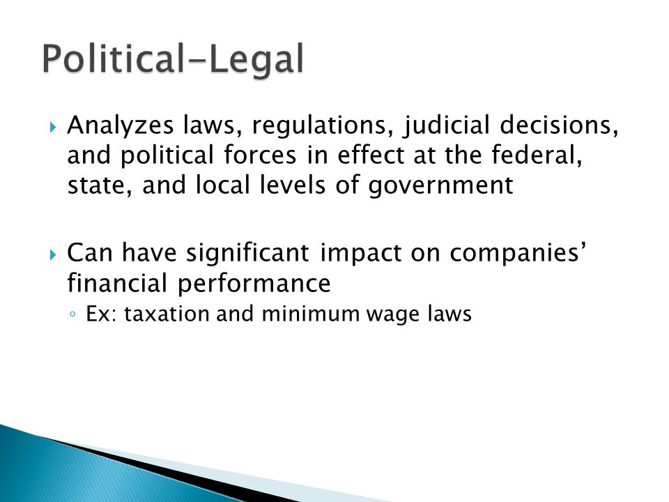 political governmental and legal forces The vice president of us public policy oversees all corporate political activity in the united states and is aided, in some instances, by across-functional team that includes representatives from facebook's public policy,communications, and legal departments, as well as outside counsel to ensure compliance with applicable disclosure laws.