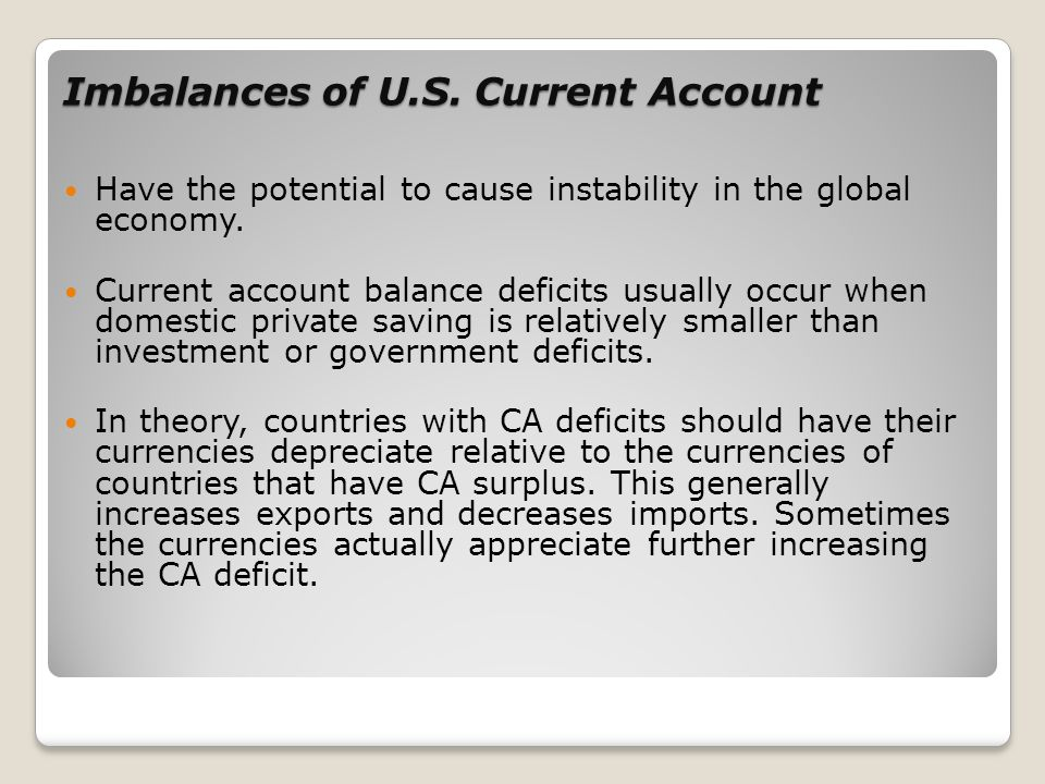 Imbalances of U.S. Current Account