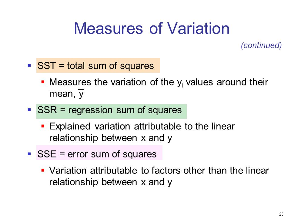 Measures of Variation SST = total sum of squares