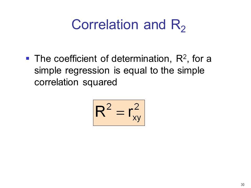 Correlation and R2 The coefficient of determination, R2, for a simple regression is equal to the simple correlation squared.