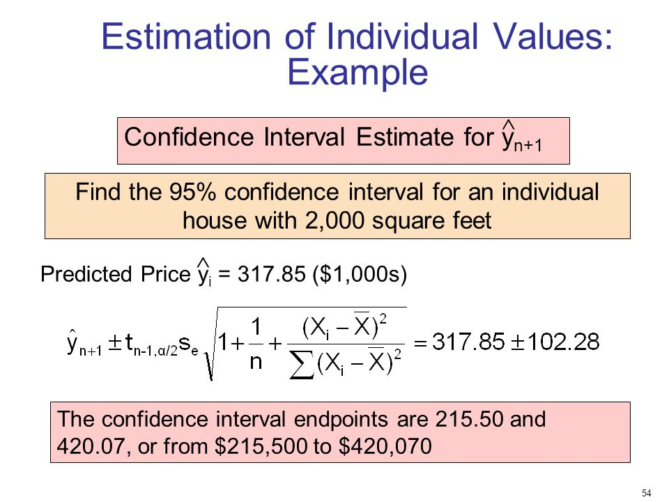 Estimation of Individual Values: Example