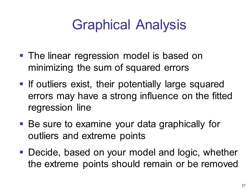 Graphical Analysis The linear regression model is based on minimizing the sum of squared errors.