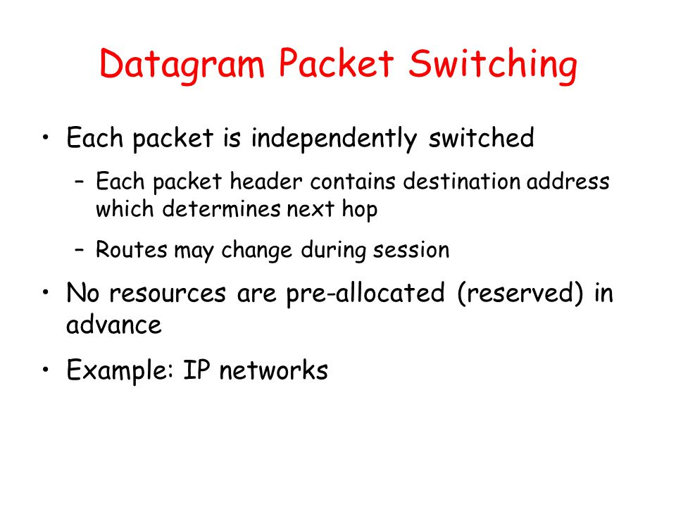 Outline Principles of congestion control TCP congestion ... Datagram Packet Switching