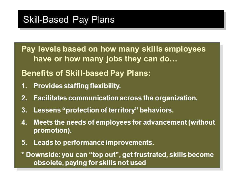skill based pay Learn compensation strategy in this in-depth course on pay for performance and  skills and knowledge to design, implement and evaluate employee base pay.