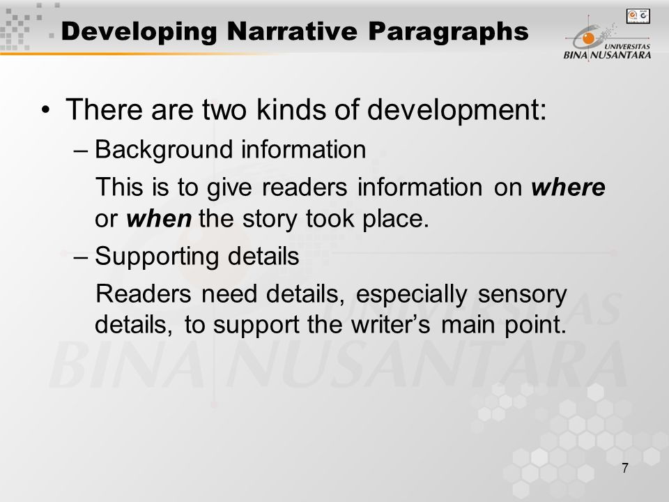 Developing Narrative Paragraphs