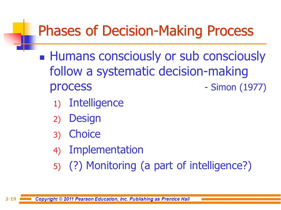 decision making process phase 1 Decision-making, in organizations, is regarded as a rational process herbert a simon has given a model to describe the decision–making process the model comprises.