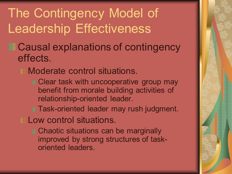task oriented leadership and relationship leader