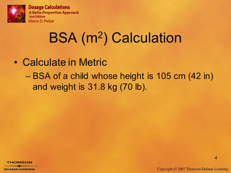 Body Surface Area And Advanced Pediatric Calculations