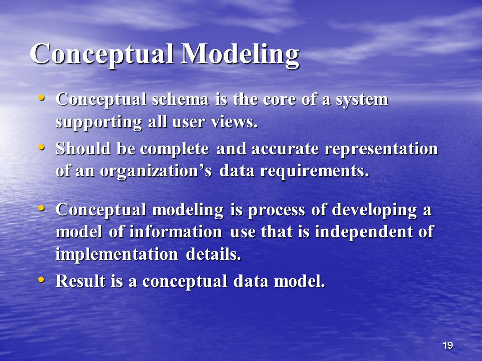 Conceptual Modeling Conceptual schema is the core of a system supporting all user views.