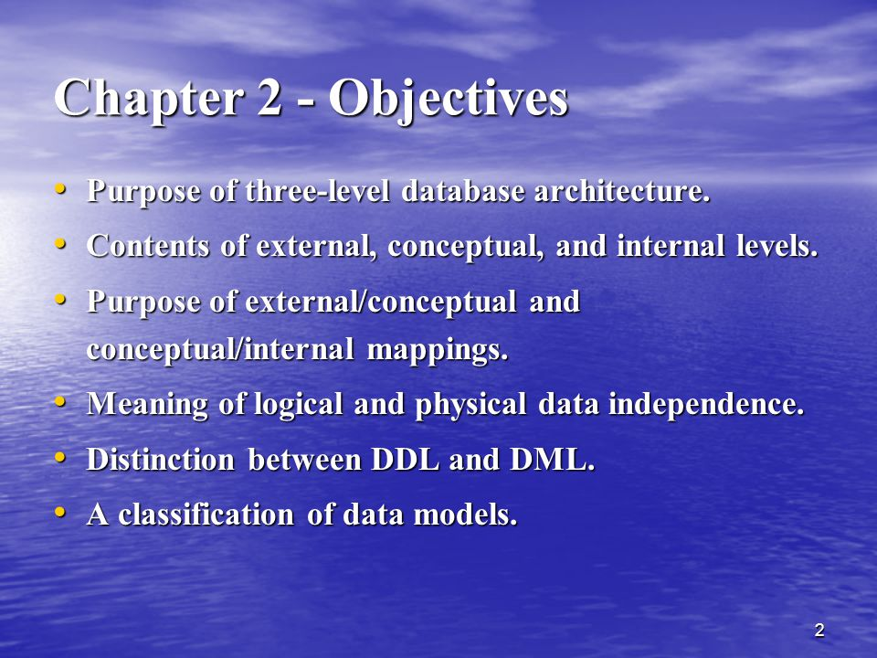 Chapter 2 - Objectives Purpose of three-level database architecture.
