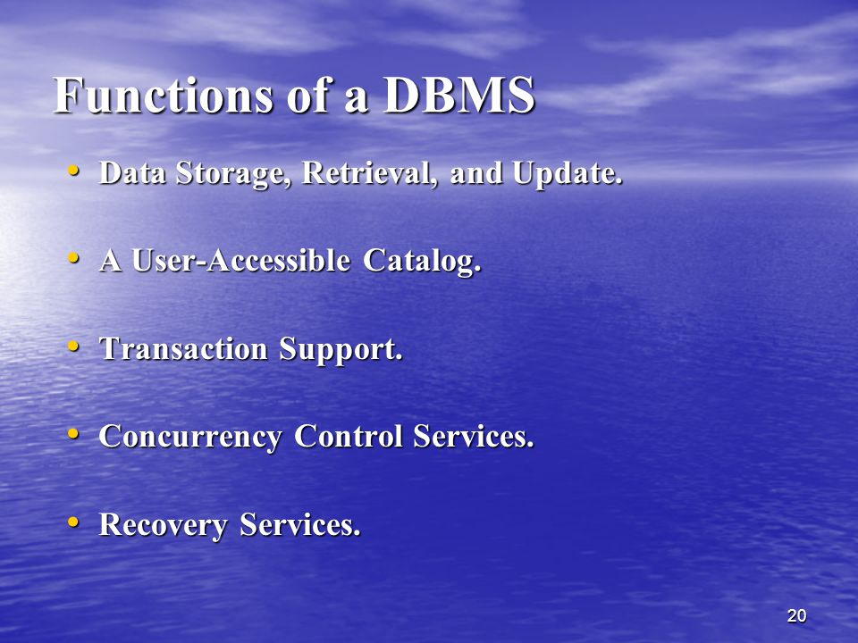 Functions of a DBMS Data Storage, Retrieval, and Update.