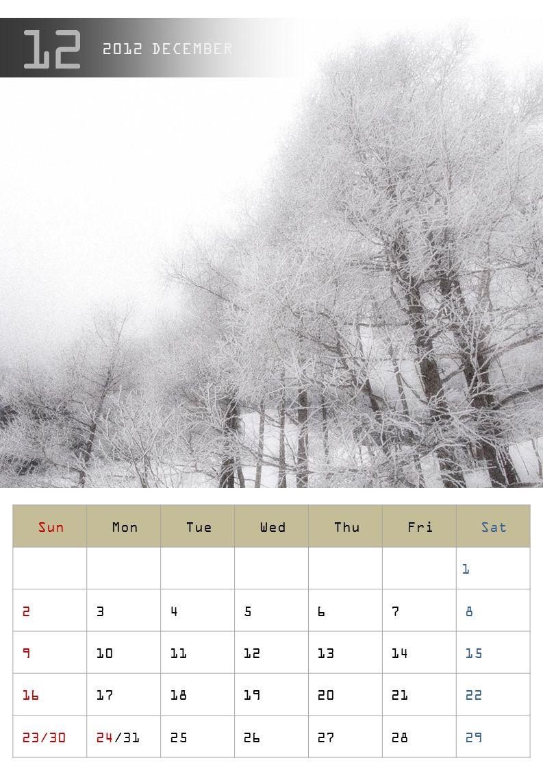 2012 DECEMBER Sun Mon Tue Wed Thu Fri Sat 1 2 3 4 5 6 7 8 9 10 11 12