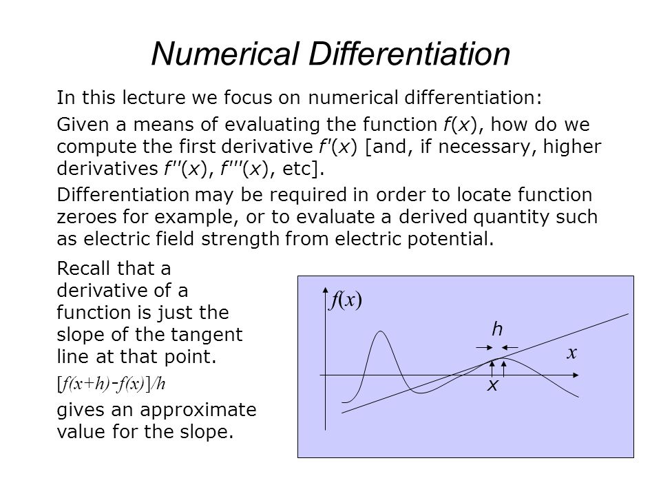 numerical differentiation Differentiation is one of the most important concepts in calculus, which has been  used almost everywhere in many fields of mathematics and applied.
