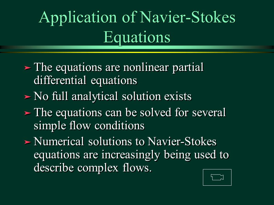 Application of Navier-Stokes Equations