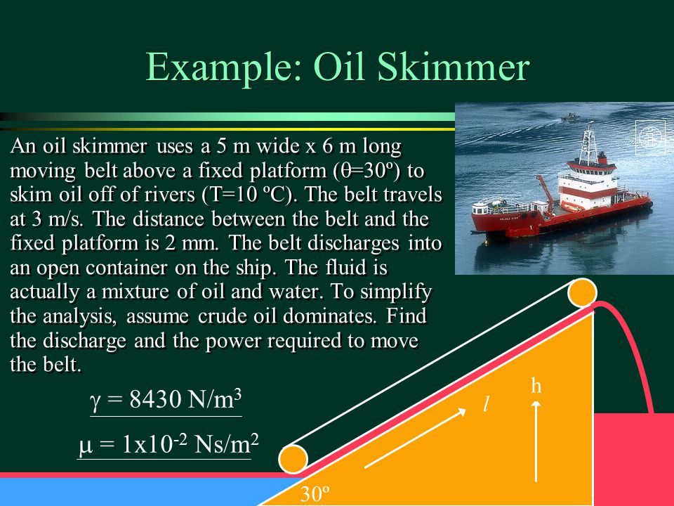 Example: Oil Skimmer g = 8430 N/m3 m = 1x10-2 Ns/m2