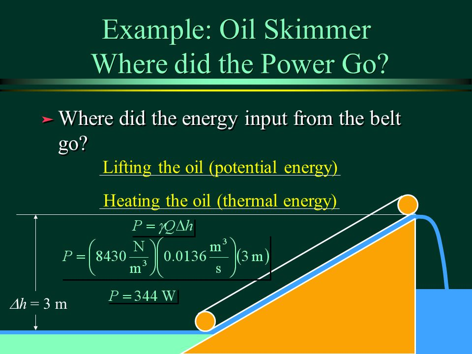 Example: Oil Skimmer Where did the Power Go