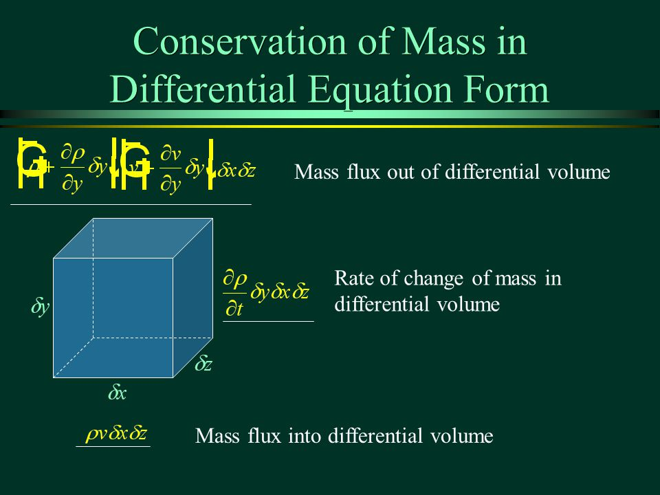 Conservation of Mass in Differential Equation Form