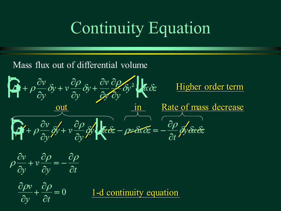 Continuity Equation Mass flux out of differential volume