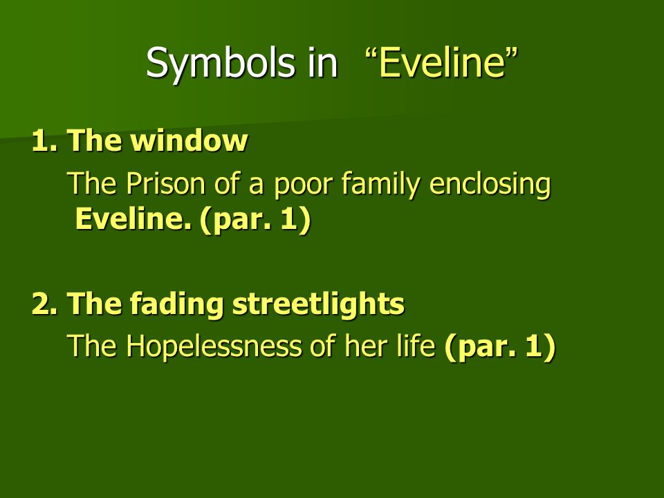 "eveline fear of the unknown Home → sparknotes → literature study guides → dubliners → quizzes → eveline, ""eveline"" quick quiz dubliners james joyce fear of the unknown 3."