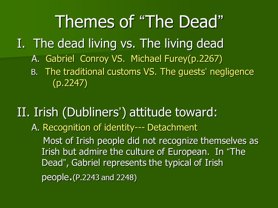 the theme of isolation in the dead by james joyce Literature james joyce has applied this theme intensively in many stories of  dubliners the stories also have common themes such as death, routine lifecycle , moral and material paralysis of some characters  he recognizes his  loneliness.