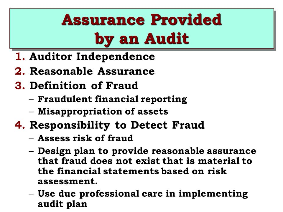 Assurance Provided by an Audit