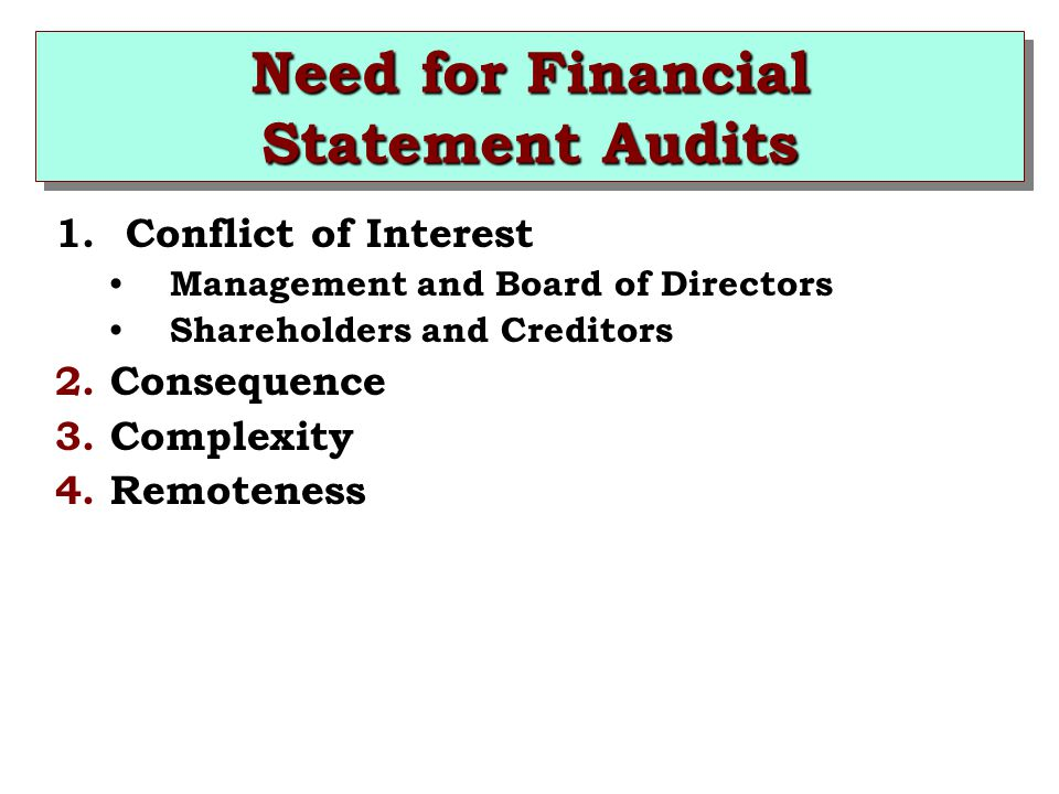 Need for Financial Statement Audits