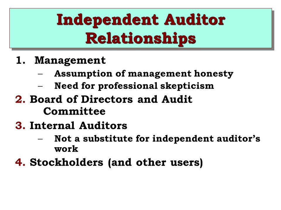 Independent Auditor Relationships