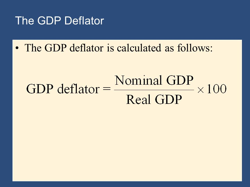 The GDP Deflator The GDP deflator is calculated as follows: