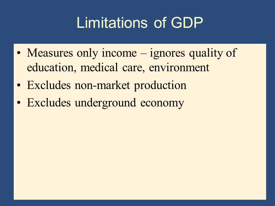 Limitations of GDP Measures only income – ignores quality of education, medical care, environment. Excludes non-market production.