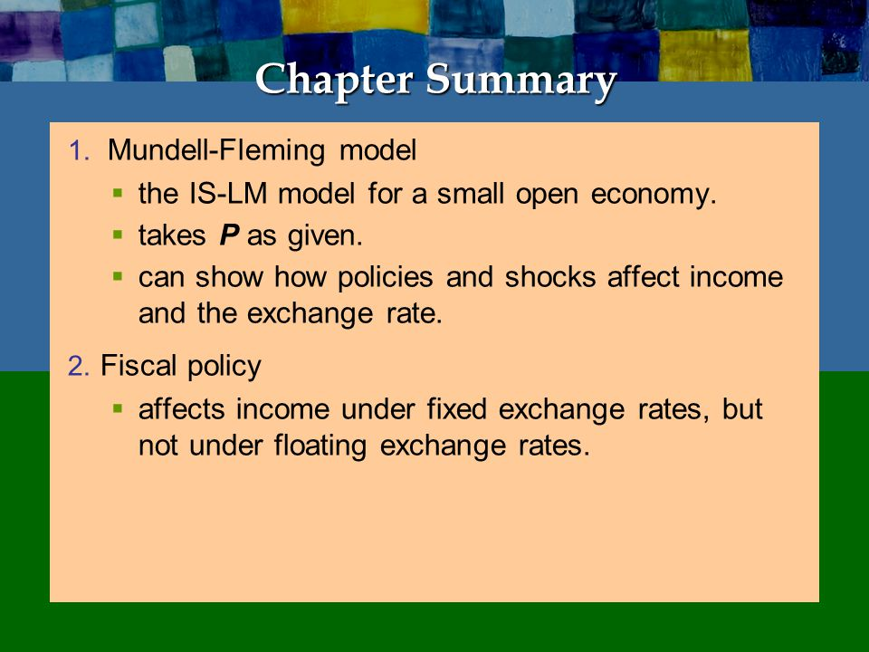 Chapter Summary affects income under floating exchange rates.