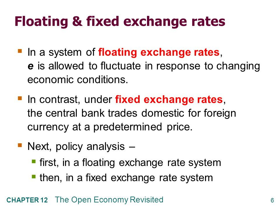 Fiscal policy under floating exchange rates