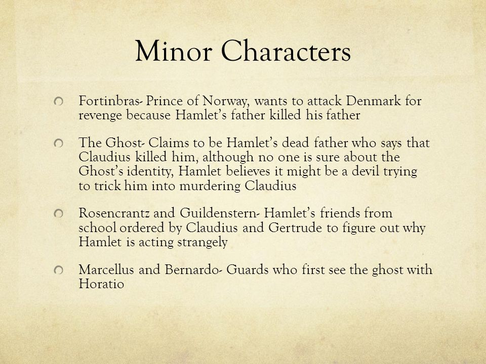 hamlet minor characters You call hamlét mignon a short play made up of four comic scenes retelling  shakespeare's play from the point of view of minor characters.