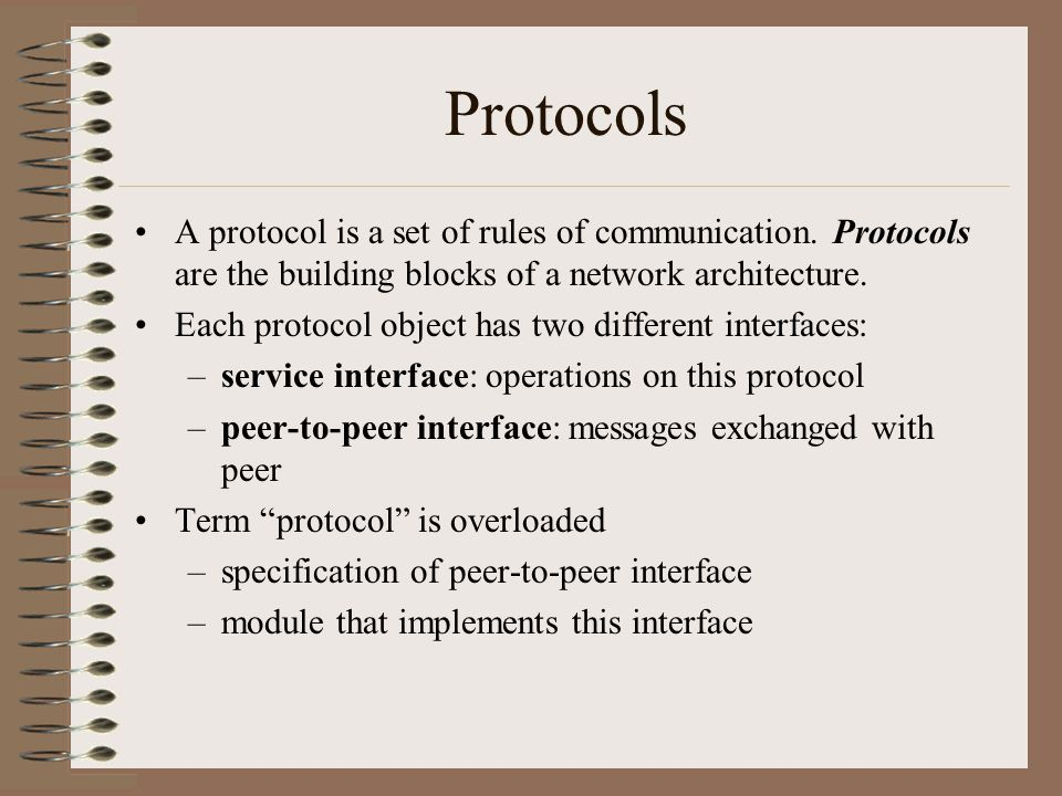Protocols A protocol is a set of rules of communication. Protocols are the building blocks of a network architecture.