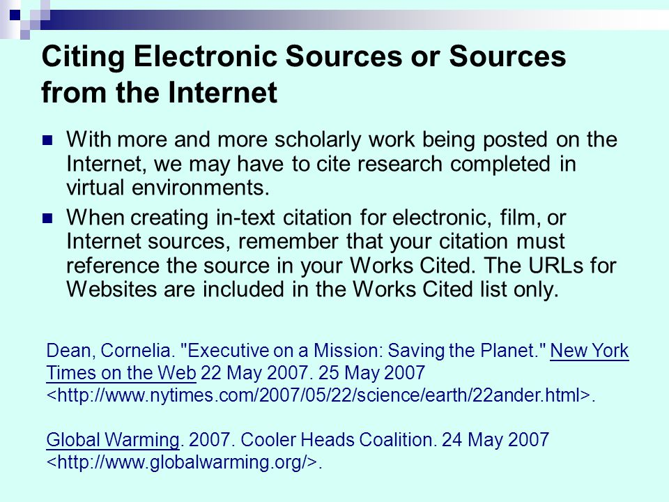 How to Cite an Internet Source on the Works Cited Page