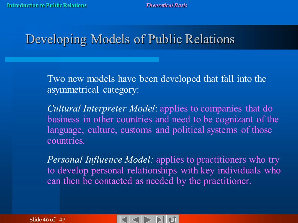 the four models of public relations The modem practice of public relations in terms of these approaches, according to  glen broom (2009, p 89) grunig's and hunt's (1984) four models place.