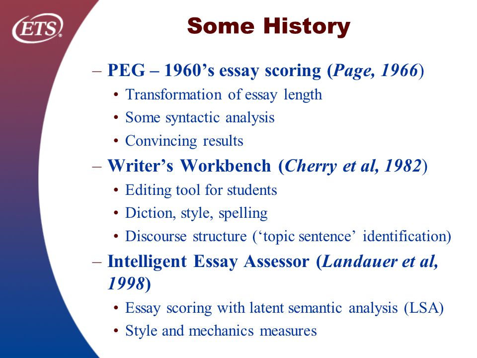 pearson essay scoring Pearson essayscorer introduction what is compare low- and high-scoring essays to better understand the pearson essayscorer author: pearson, inc.
