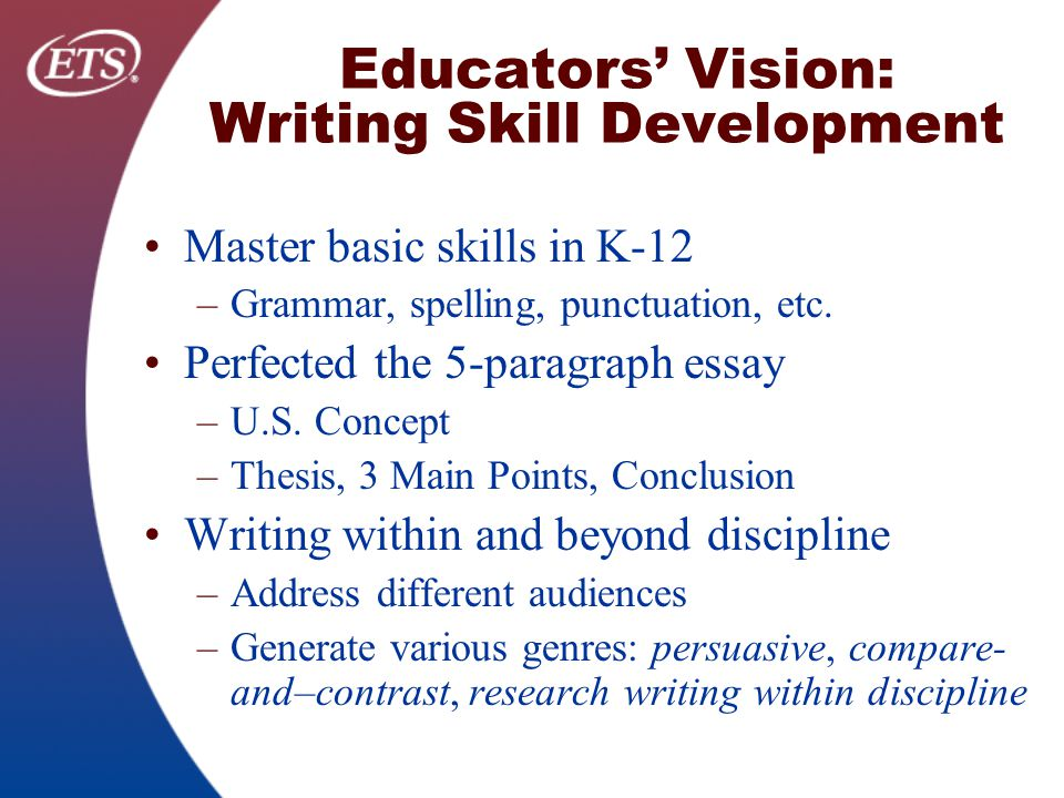 skill development essay Essential academic skills second edition sample essay topic: test anxiety test anxiety leads to the development of interfering thoughts.