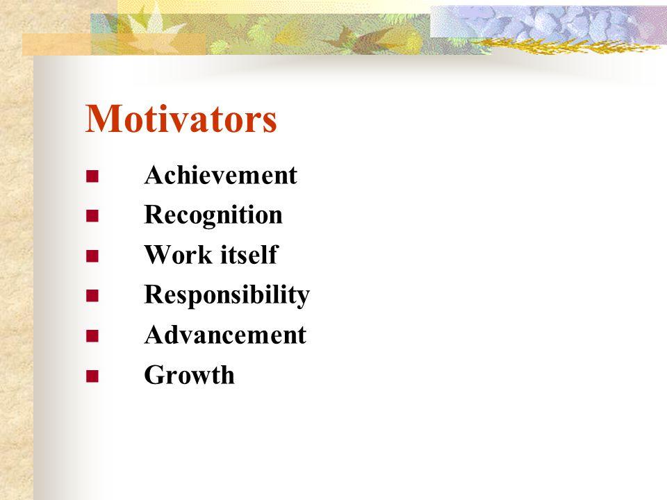 Motivators Achievement Recognition Work itself Responsibility