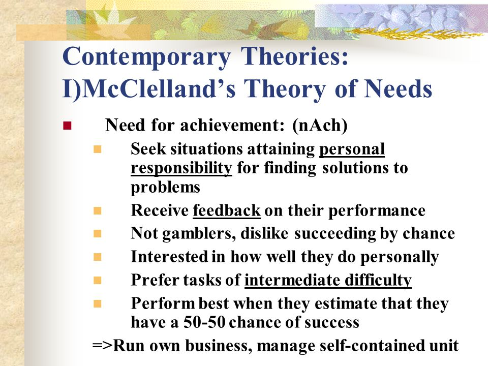 Contemporary Theories: I)McClelland's Theory of Needs