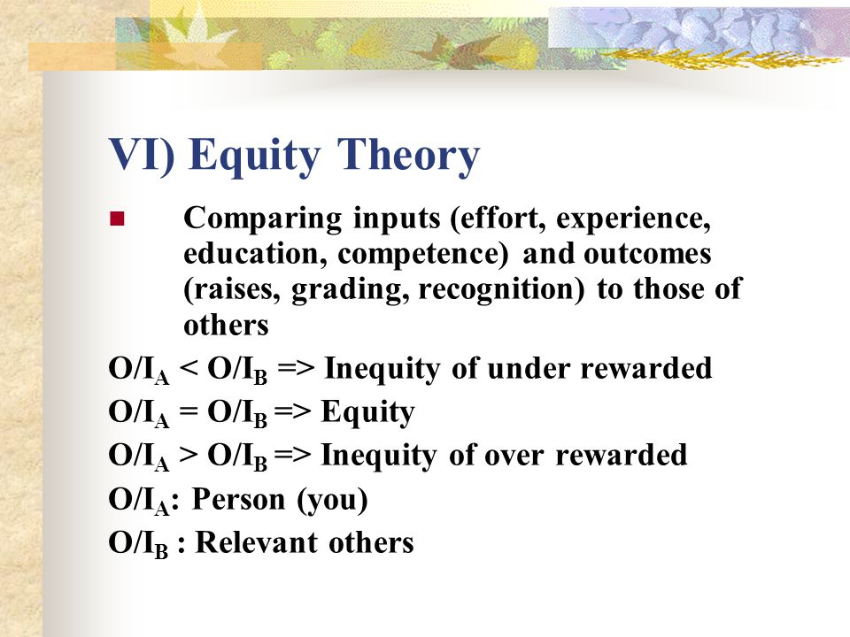 VI) Equity Theory Comparing inputs (effort, experience, education, competence) and outcomes (raises, grading, recognition) to those of others.
