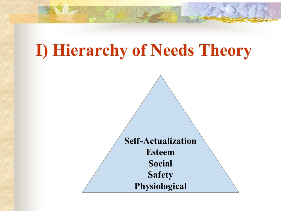 I) Hierarchy of Needs Theory
