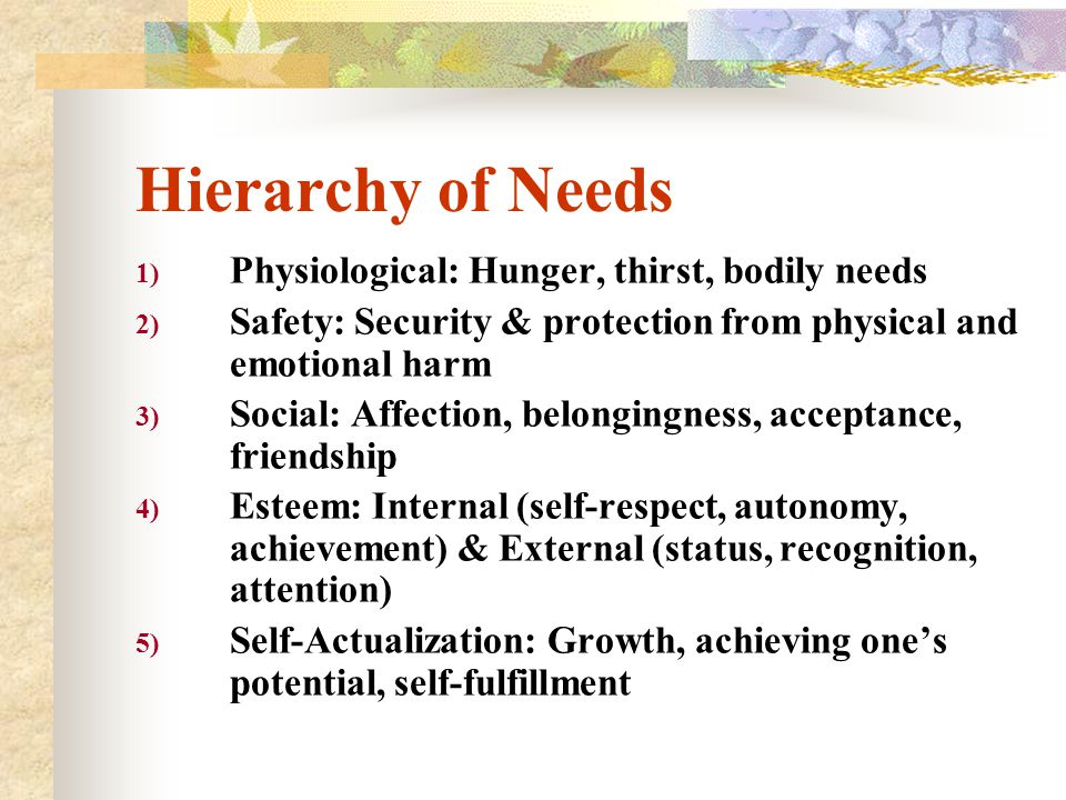 Hierarchy of Needs Physiological: Hunger, thirst, bodily needs