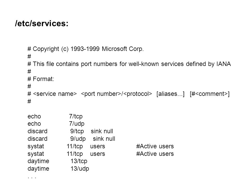 Microsoft services port numbers